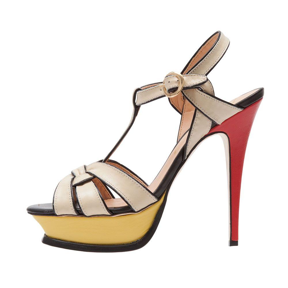 Sandália couro tiras » Altos - OQVestir