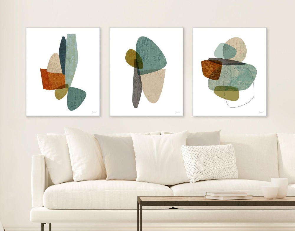Mid Century Modern Canvas Art Set Of 3 Large Abstract Canvas Etsy Modern Canvas Art Abstract Canvas Wall Art Modern Abstract Print