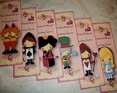 ALICE in WONDERLAND - Set of 6 Personalized Bookmarks - Stocking Stuffers - organza gift bag included - AL 449
