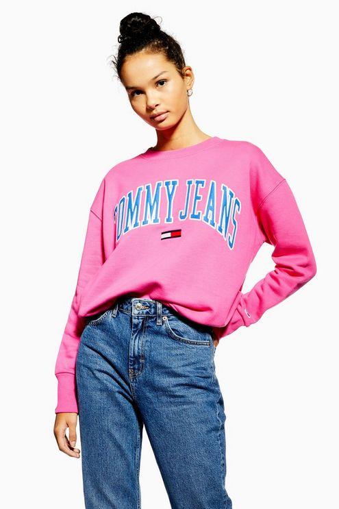 Womens Collegiate Crew Sweatshirt By Tommy Jeans Pink Tommy Jeans Sweatshirt Jeans And Hoodie Sweatshirts