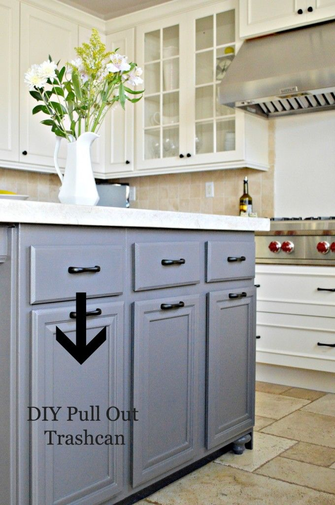 turn a door and a drawer into a pull out trash can | drawers