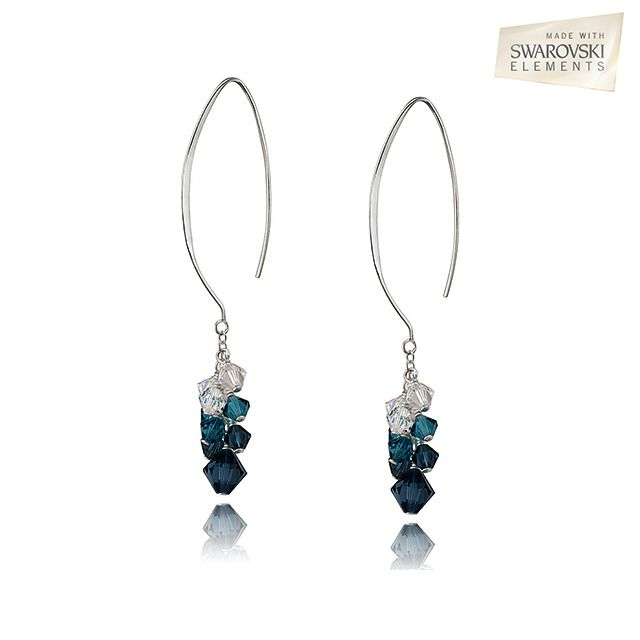 Swarovski Elements Multi-Blue Cluster Drop Dangle Earrings No matter what time of year it is, a wonderful wedding wardrobe is the key to making a beautiful entrance on your special day. That