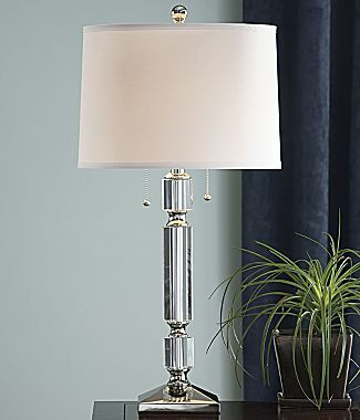 Cindy Crawford Style Crystal Stack Table Lamp Jcpenney 2 60w Bulbs Nickle Finish 29 75 High Faceted Clear Crystal Assembly Lamp Table Lamp Affordable Lamp