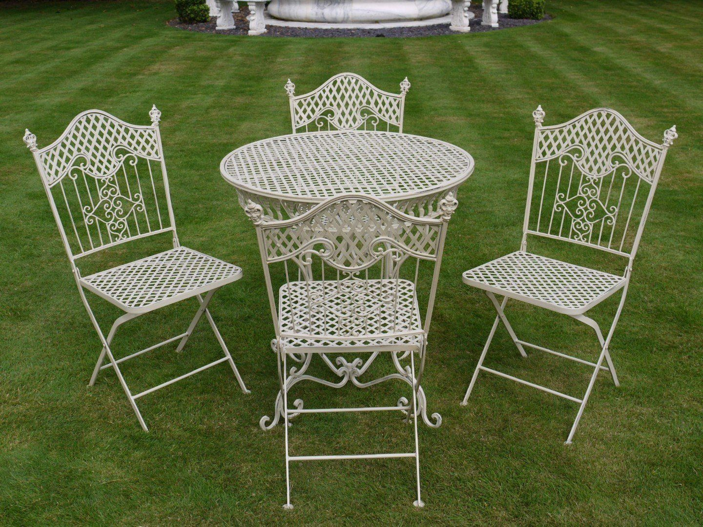 French Ornate Cream Wrought Iron Metal Garden Table And Chairs