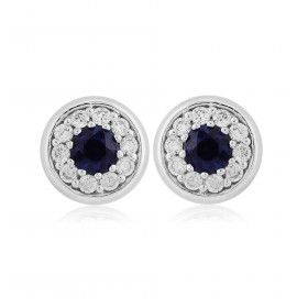 Rudells 18ct White Gold Sapphire and Diamond Rub Over Set Earrings - Small Image