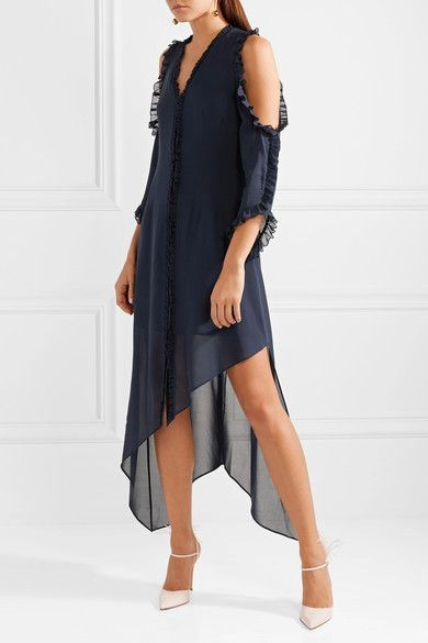 Claudie Cold-shoulder Ruffled Silk-blend Chiffon Midi Dress - Midnight blue Alice & Olivia jlHqsxtLZt