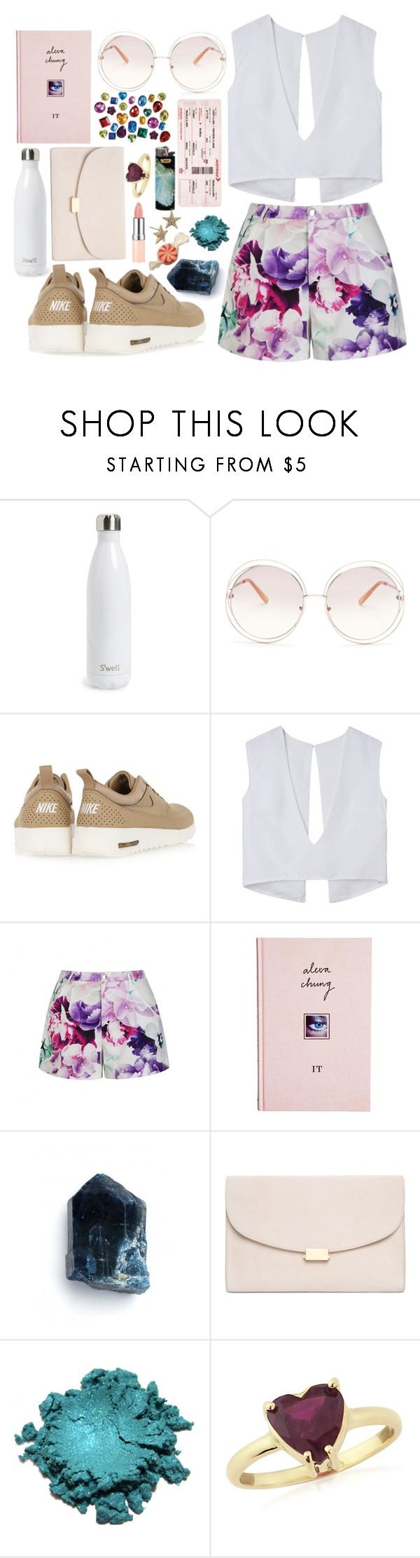 """""""Shorts"""" by lady-wednesday ❤ liked on Polyvore featuring S'well, Chloé, NIKE, Ally Fashion, ASOS, Mansur Gavriel, Krausz Jewellery, Betsey Johnson and printedshorts"""