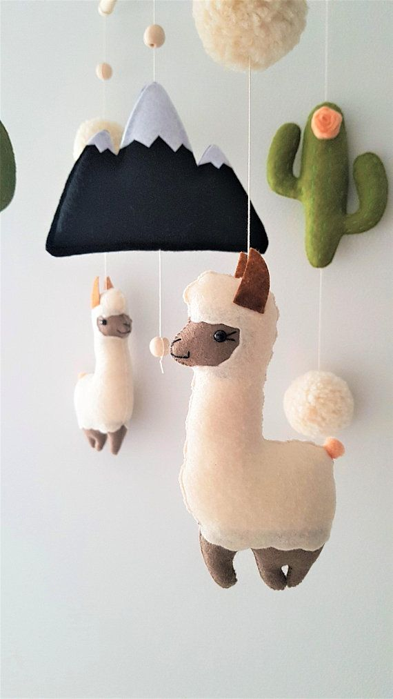 Llama and Cactus Nursery Mobile, Baby Mobile Felt Cactus Mobile ... 3dc5156a1f8