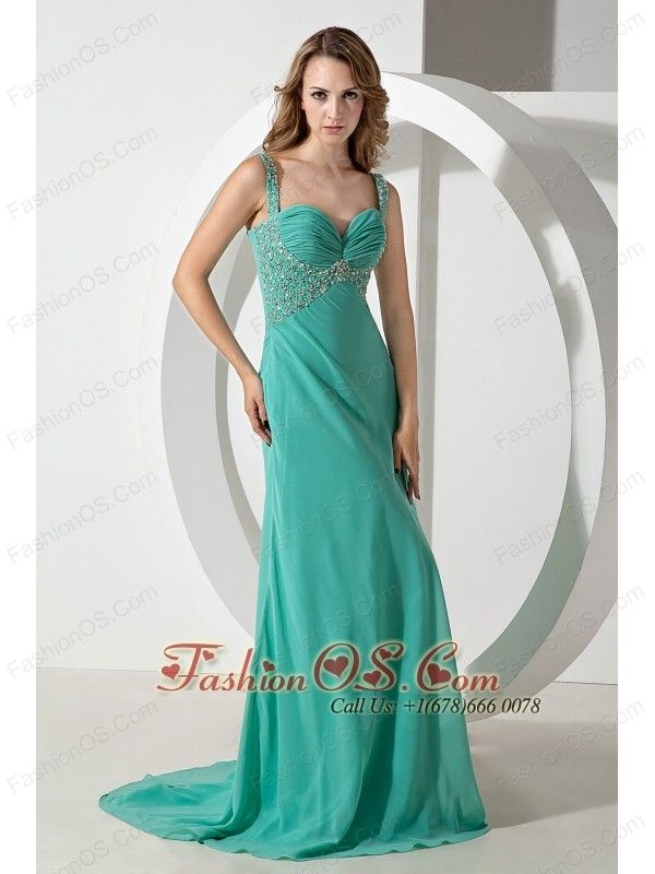 Turquoise Column Straps Beading Prom Dress Brush Train Chiffon 143 02 Www Fashiono Graduation Dress Plus Size Graduation Dresses Long Formal Evening Dresses