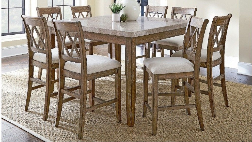 Dunedin 9 Piece High Dining Suite Dining Furniture Dining Room Furniture Outdoor Counter Height Dining Table Counter Height Dining Sets Dining Room Sets
