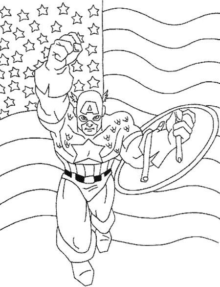 Captain America - Avengers Coloring Pages for Kids >> Disney ...
