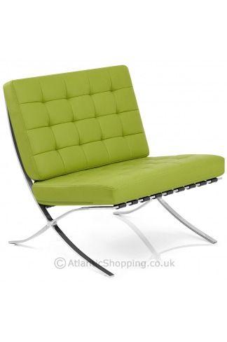 Barcelona Chair Green 225 00 Chair Funky Chairs Barcelona Chair