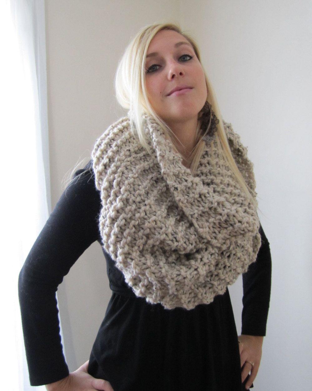 Super Snuggly Chunky knit cowl Oatmeal. via Etsy.