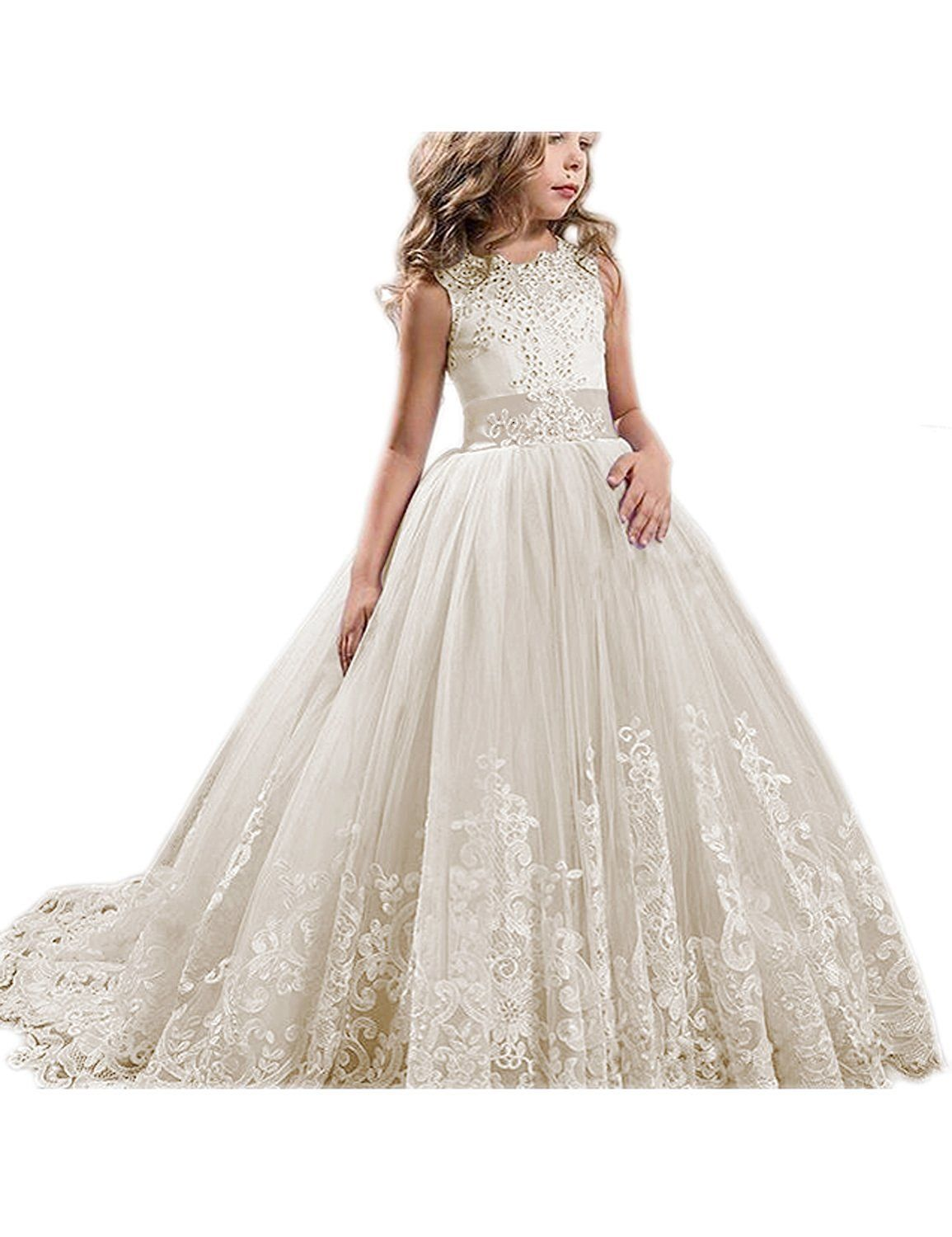 Princess ivory long girls pageant dresses kids prom puffy tulle ball