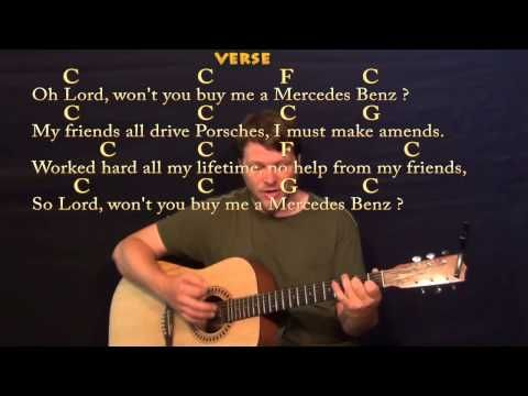 Mercedez Benz (Janis Joplin) Easy Strum Guitar Cover Lesson with ...