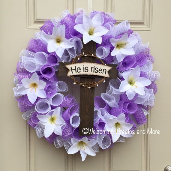 Easter Cross Wreath Lily Purple And White He Is Risen