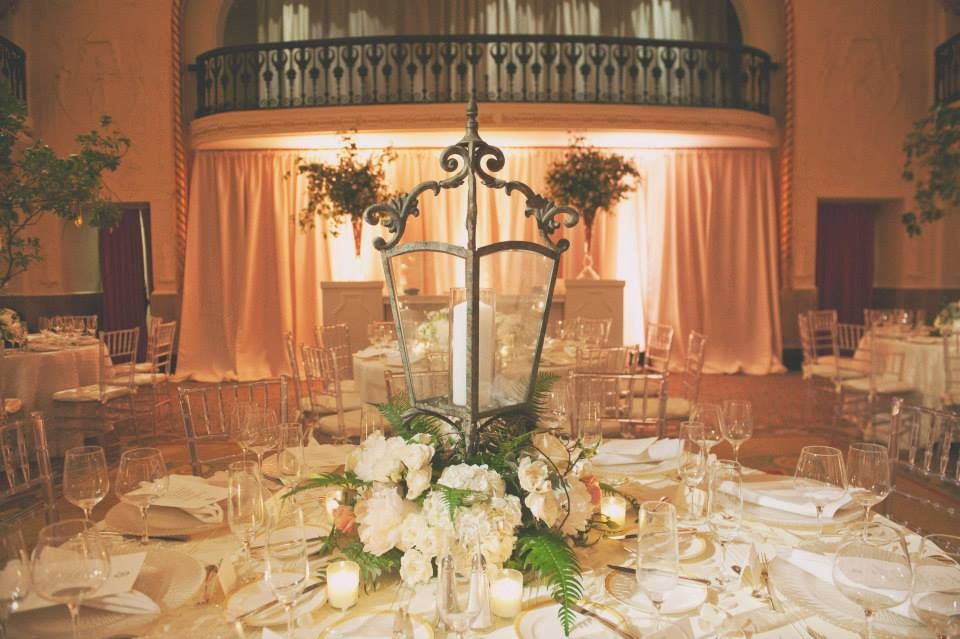 Vintage Lantern Centerpiece White Gold And Blush Accents