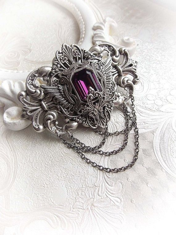 Gothic hair clip accessory amethyst Swarovski by MidnightVision