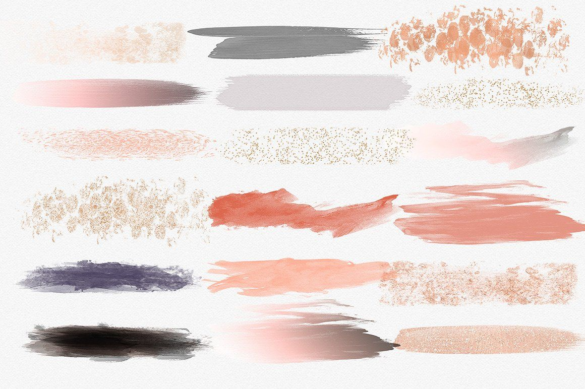 Peach Watercolor Brush Strokes Brush Strokes Amp Glitter