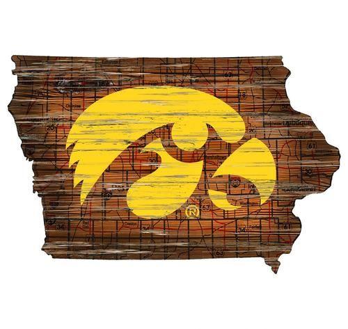 University of Iowa Hawkeyes Wall Art Vintage State Map Logo Sign ...