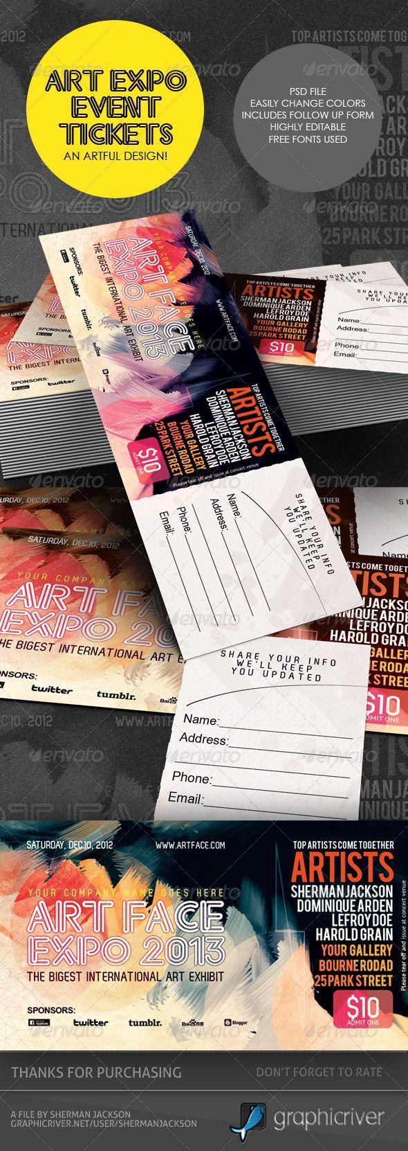 Art Expo Art Show Event Tickets Passes Template Ticket Design Art Show Event Tickets Design