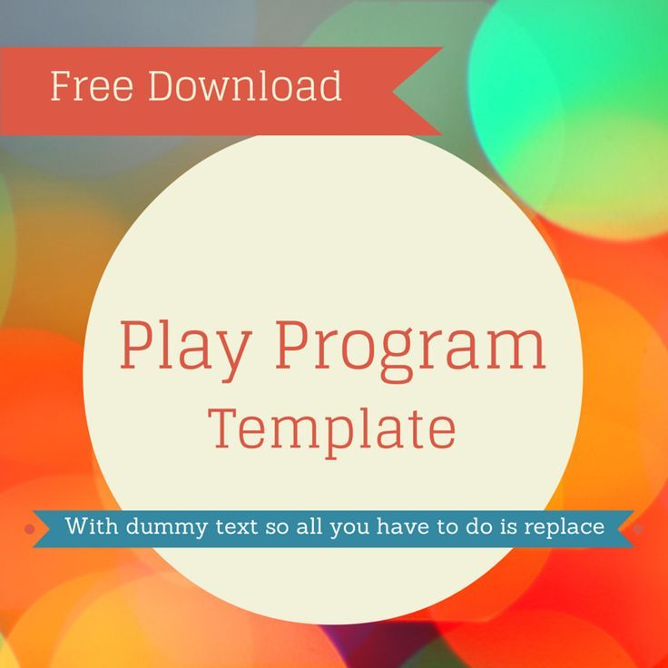 Free play program template for download Use this in your - programs templates free