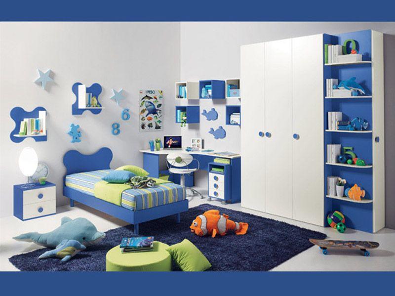 Cameretta pinocchio cameretta singola per ragazzo nei colori del bluette e del bianco composta - Testiera letto libreria ...