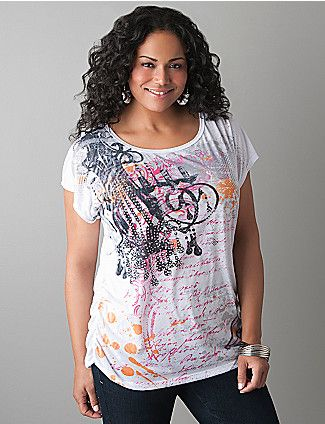 Chandelier Embellished Tee. Time to get this comfortable tee that features a glittering chandelier graphic! #lanebryant #love