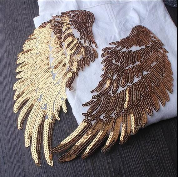Sliver HUGE Angel Wings Patch,Wings Applique,Gold Wings ,Sequin Sliver Wings,Costume Embellishment,Sequin Wings,Large Angel Wings #pillowcasesandpillowcasedolls