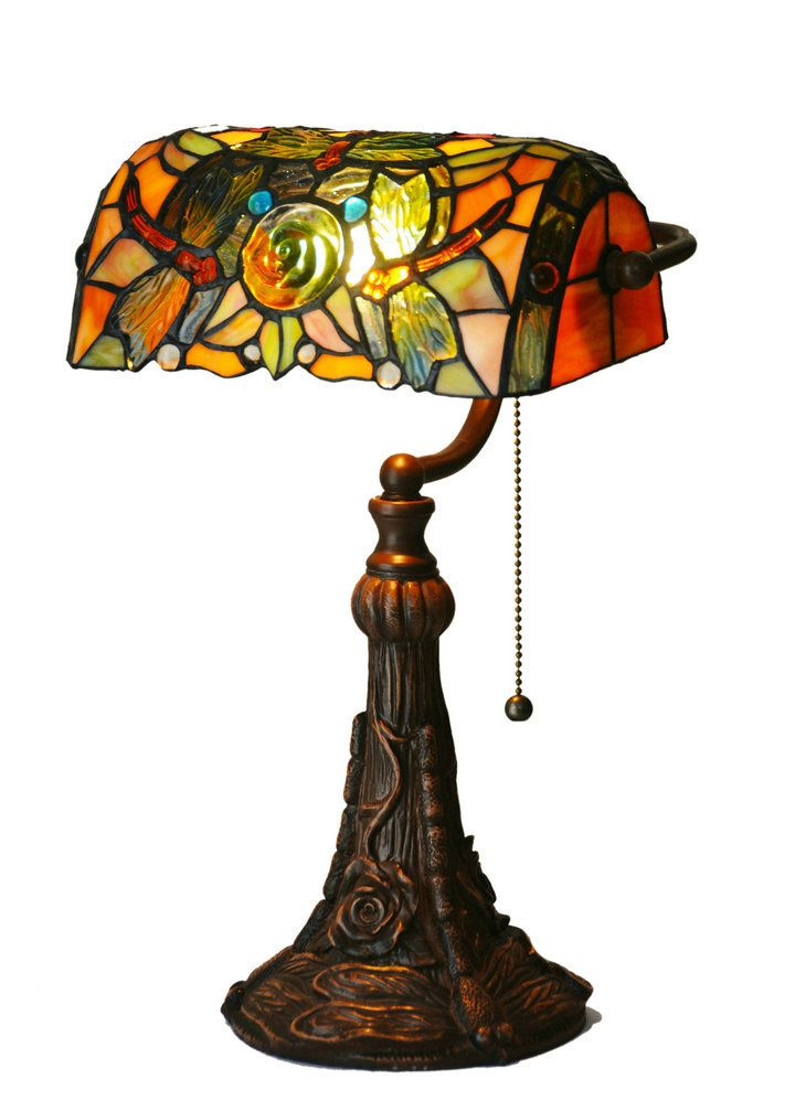 Stained Gl Tiffany Style Jeweled Dragonfly Turtle Back Table Desk Lamp