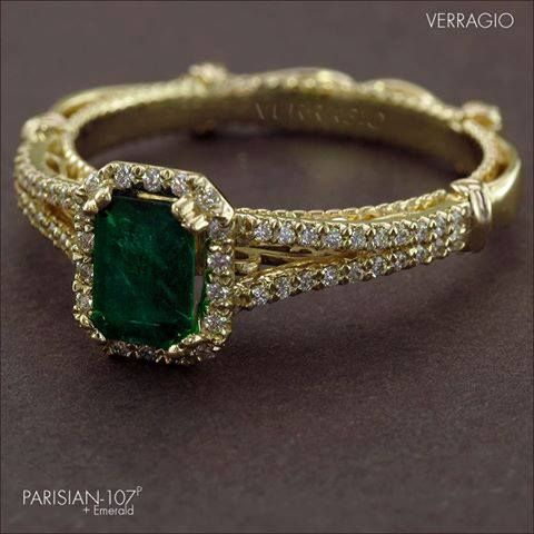 We love the dark green color of the Emerald that is perfectly balanced by the warmth of the yellow gold in this custom-made #Verragio ring for one of our clients...  #coloroftheyear2013