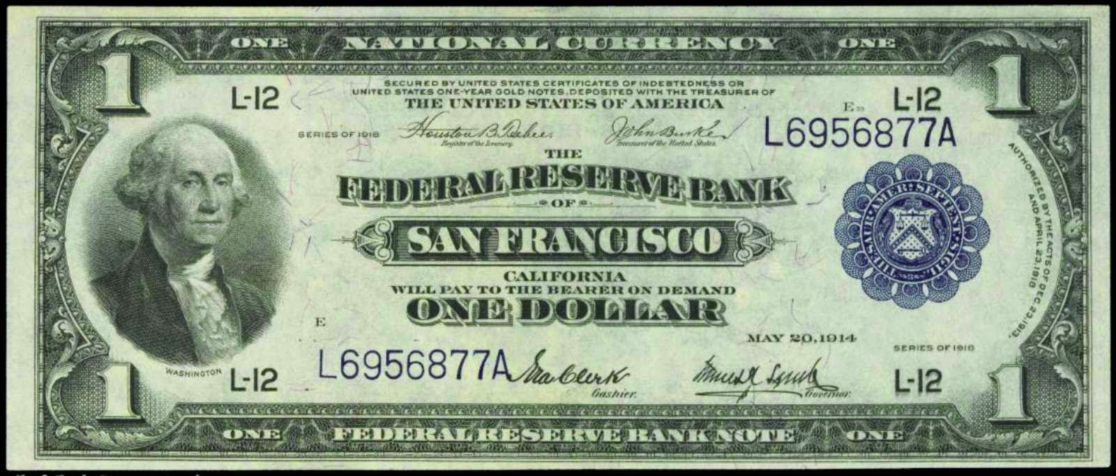 One Dollar Federal Reserve Bank Note 1918 San Francisco