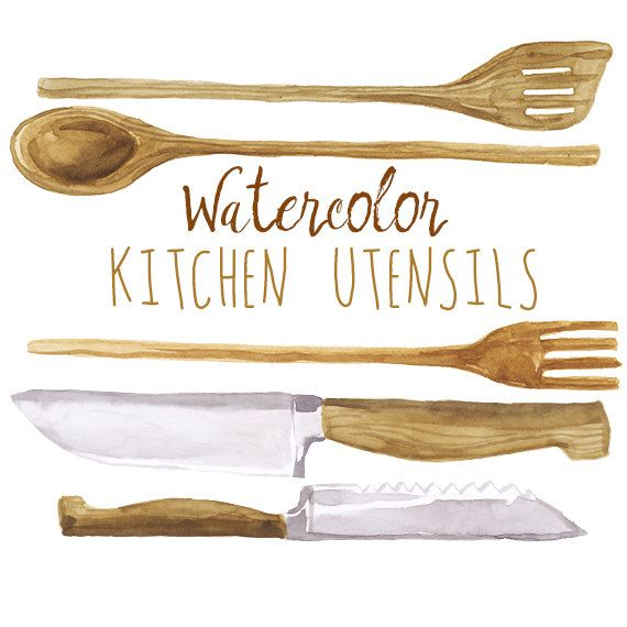 Watercolor Kitchen Utensils Clip Art Wooden Cookware Wood Spoon