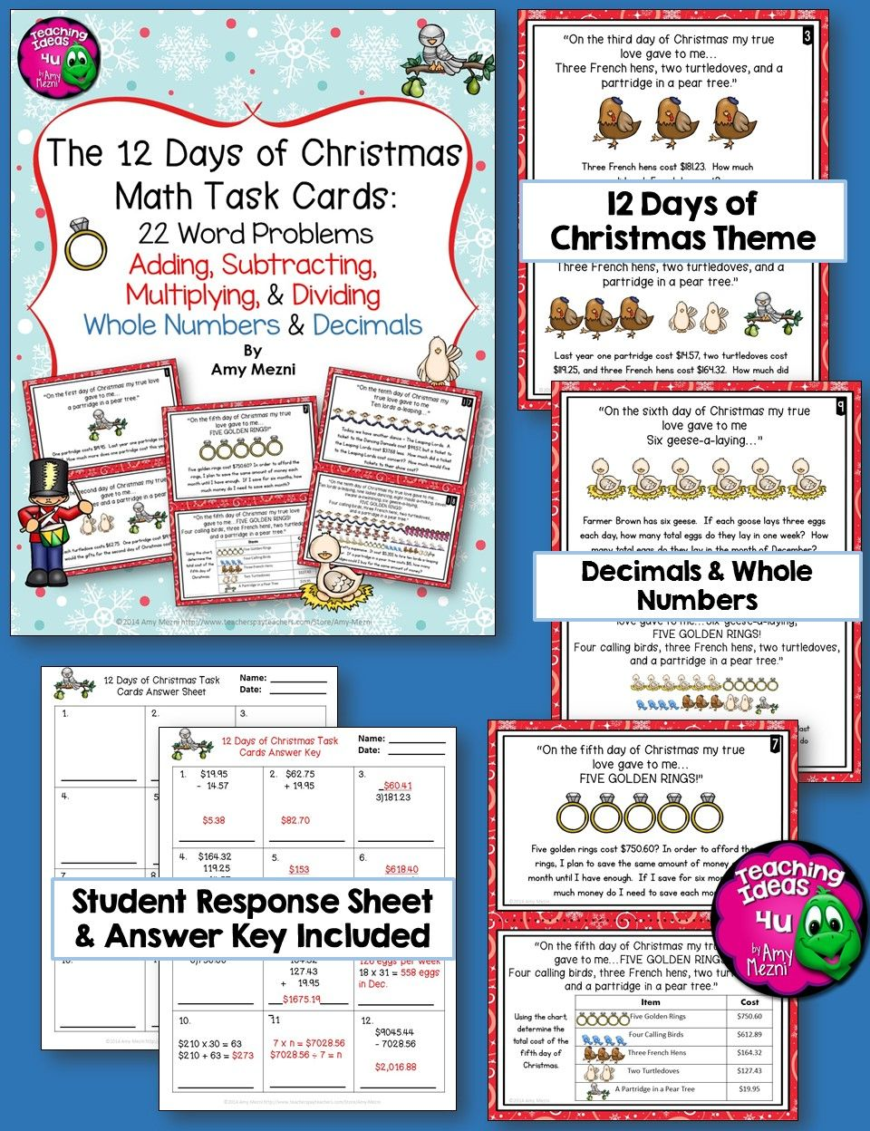 Decimal Math Task Cards All Operations 12 Days Of Christmas Themed