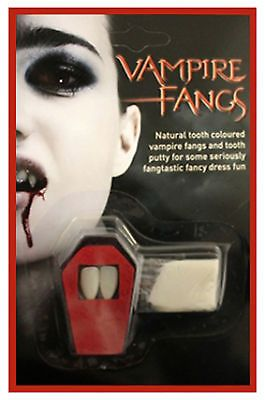 Halloween White Vampire Dracula Fangs Caps Teeth Fancy Dress With Putty Adhesive