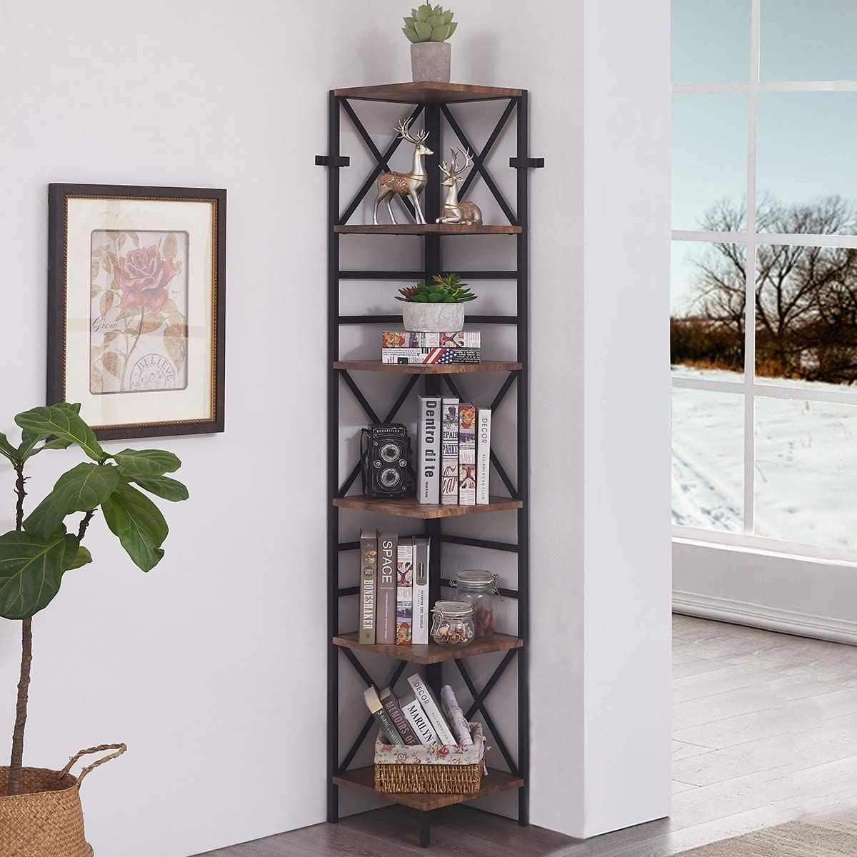6 Tier Industrial Corner Shelf Unit Tall Bookcase Storage Etsy In 2021 Corner Shelf Unit Corner Bookshelves Bookcase Storage