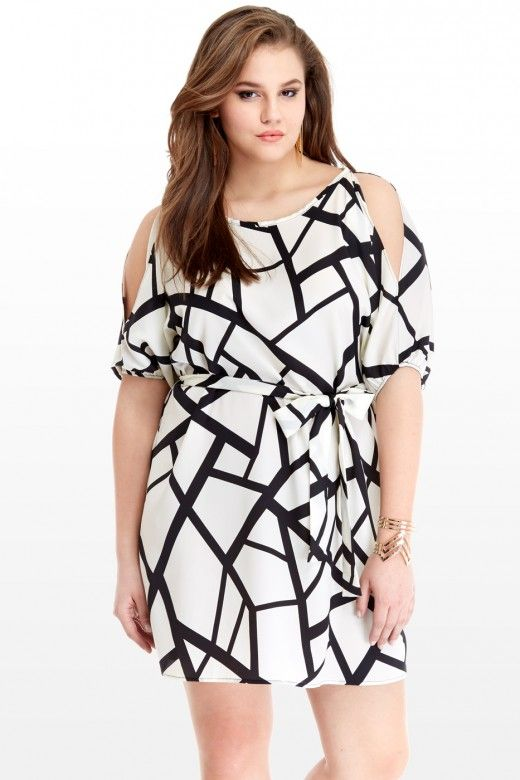 Plus Size Geo Cutout Shoulder Dress   Fashion To Figure ...