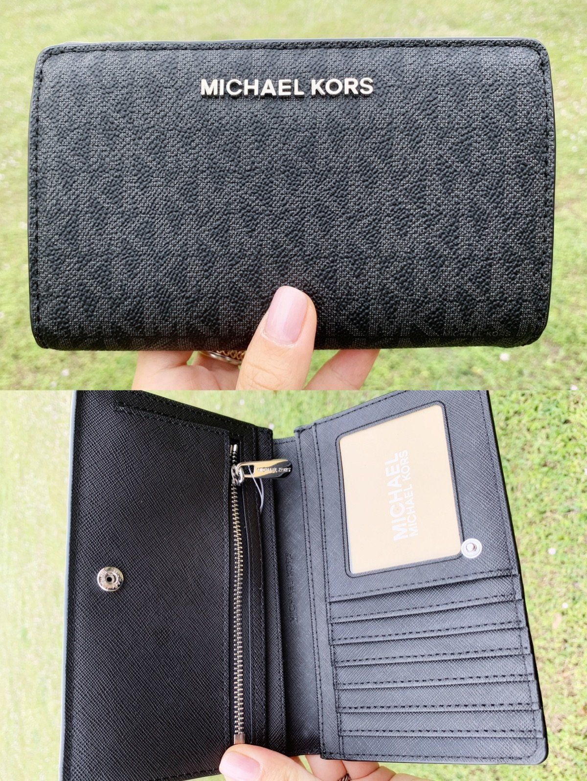 910b1f73a514 Michael Kors Jet Set Travel PVC Slim Bifold Wallet Black MK  ebaystore   poshboss  top  amazondeals  poshfashion  ebayseller  amazon  Poshmark   Handbags ...