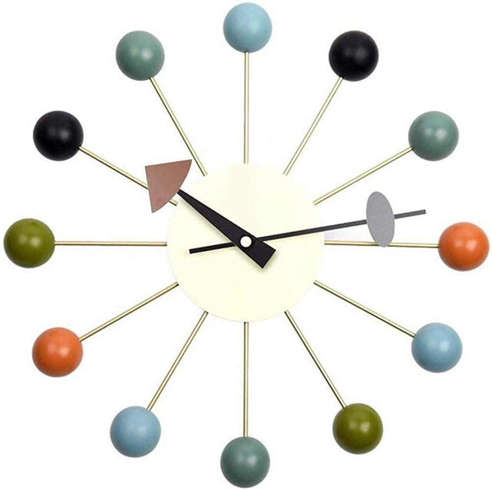 Tiandihe Wood Ball Wall Clock Silent Battery Operated Non Ticking 13 Inches Pop Color Quartz Clocks Decorative Li In 2020 Retro Wall Clock Wall Clock Silent Wall Clock