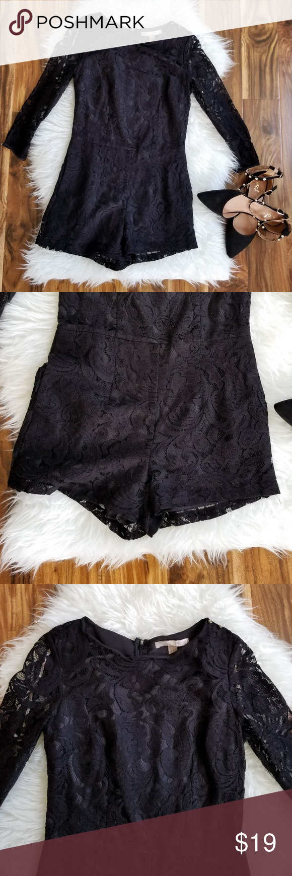 3cff5aa197b Forever 21 Black Lace Romper NWT Forever 21 SIZE Small Black lace romper  with long sleeves. Zipper closure on back. New with tags! Forever 21 Pants  ...