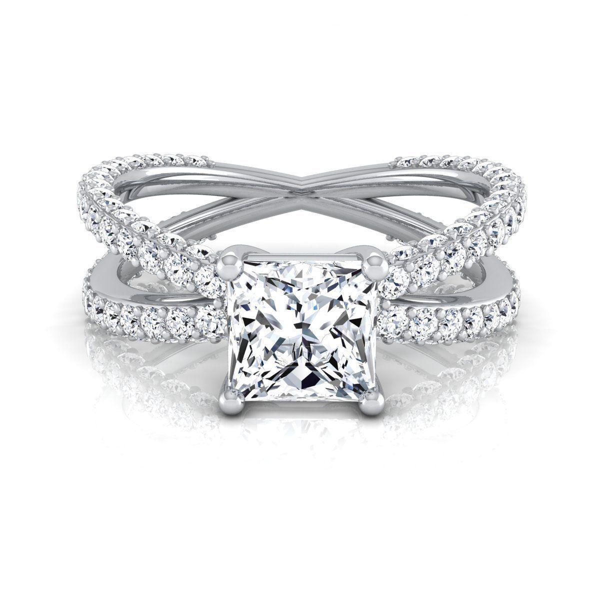 K white gold igicertified ct tdw princesscut diamond