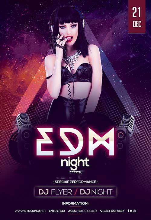 free nightclub flyer design templates - edm night party free flyer template flyer template