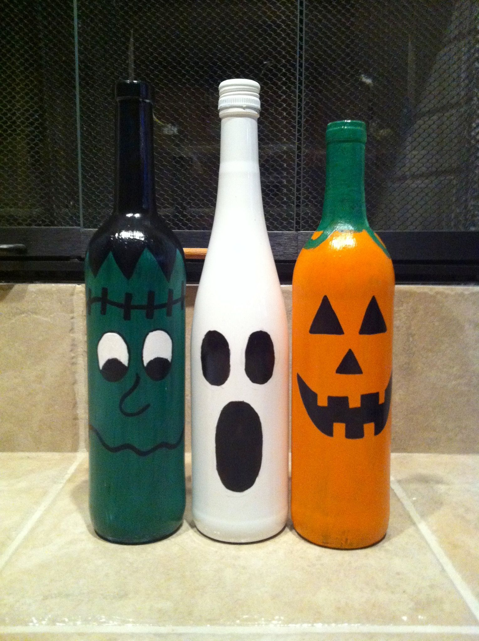 Halloween glass ornaments - Halloween Wine Bottles I Made