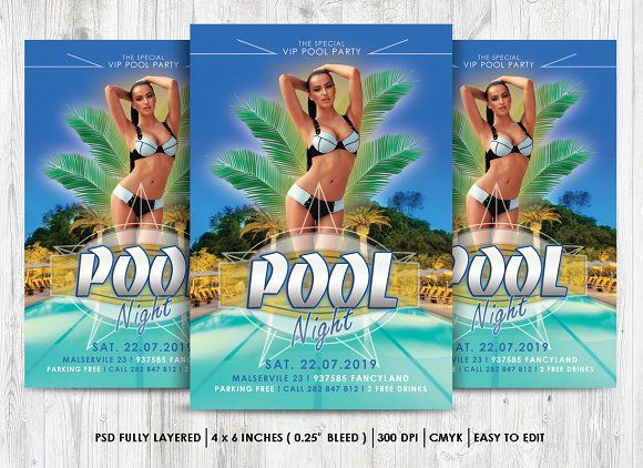 Pool Party Flyer Psd By Rudanstudio On Creativemarket  Summer Time