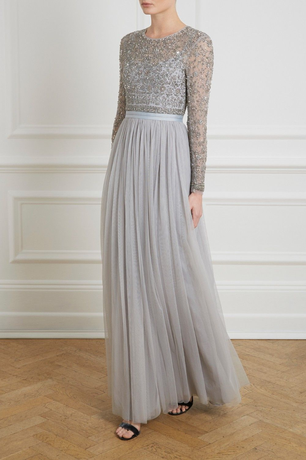 Needle Thread Maxi Dress With Sleeves Long Sleeve Maxi Dress Bridesmaid Dresses [ 1502 x 1000 Pixel ]