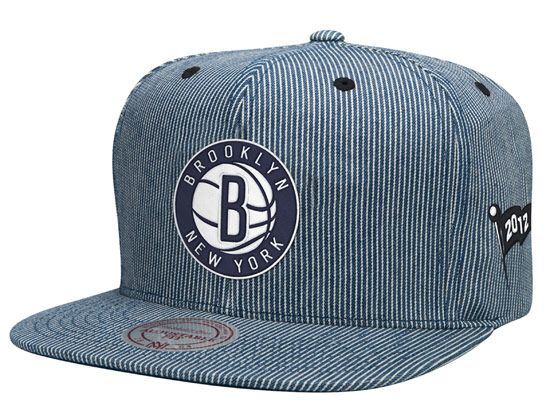 58f443bf60f5d Brooklyn Nets Engineer Stripe Strapback Cap by MITCHELL   NESS x NBA ...
