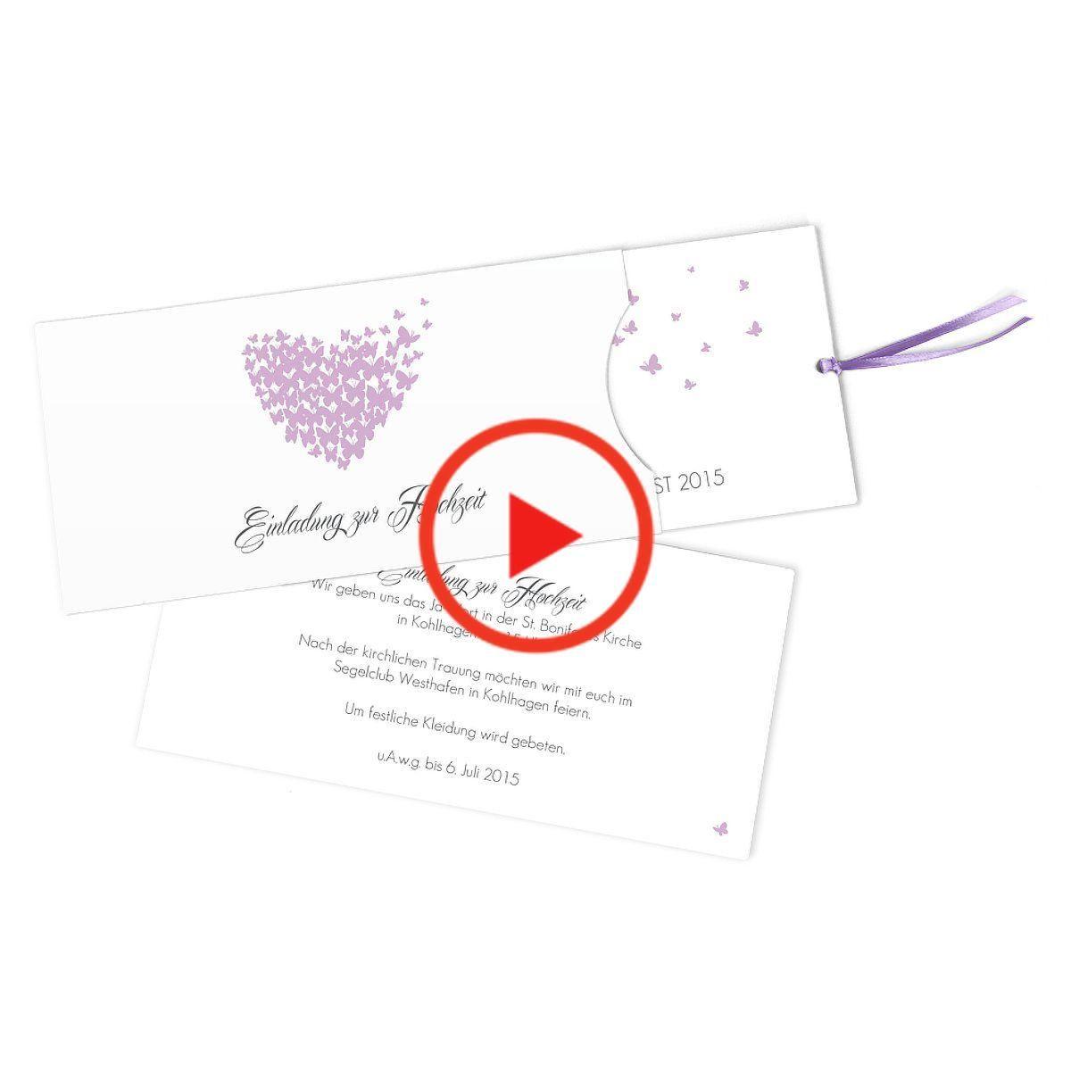 invitation de mariage « papillons », lilas, prise lange avec