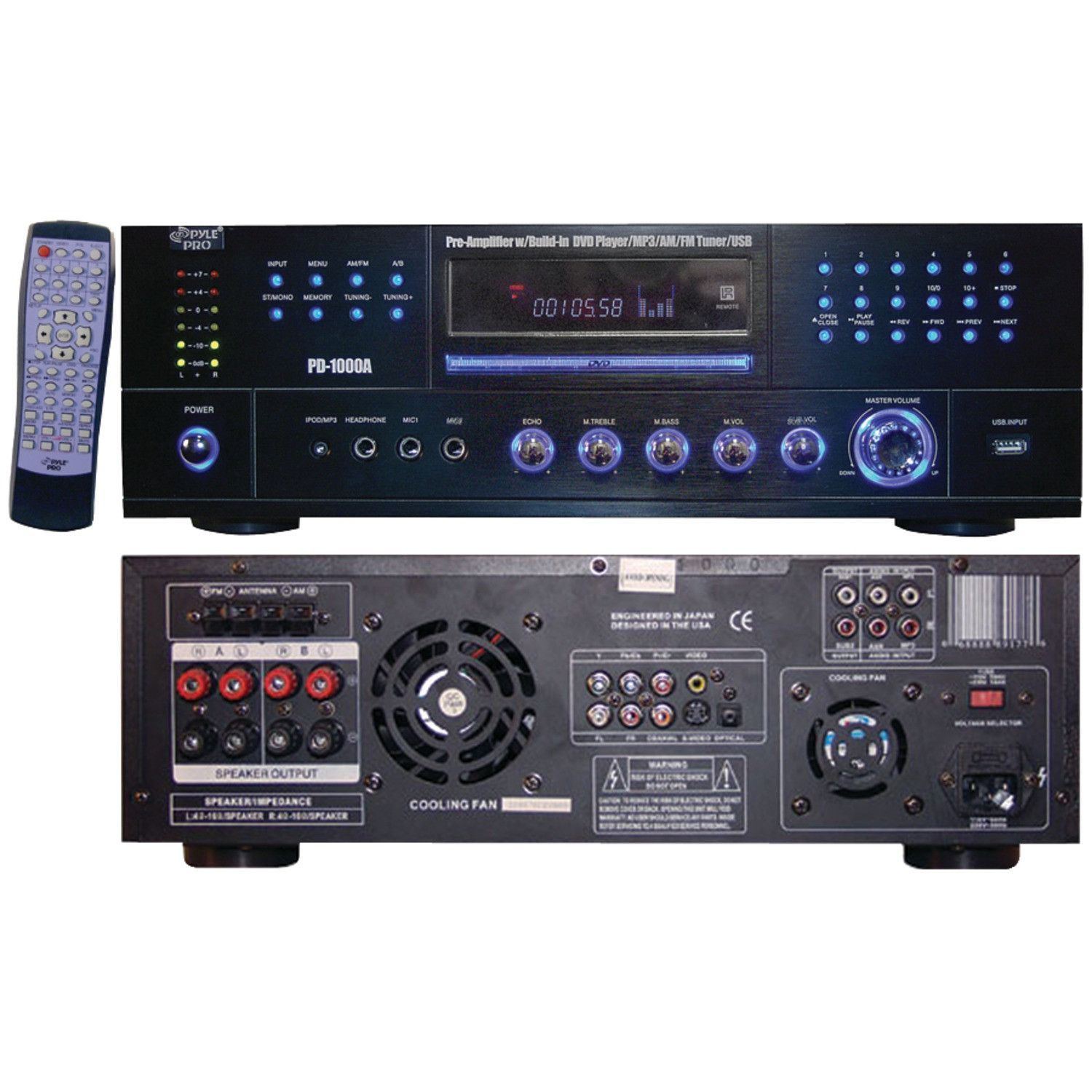 Pyle Home 1000 Watt Am And Fm Receiver With Built In Dvd Dvd