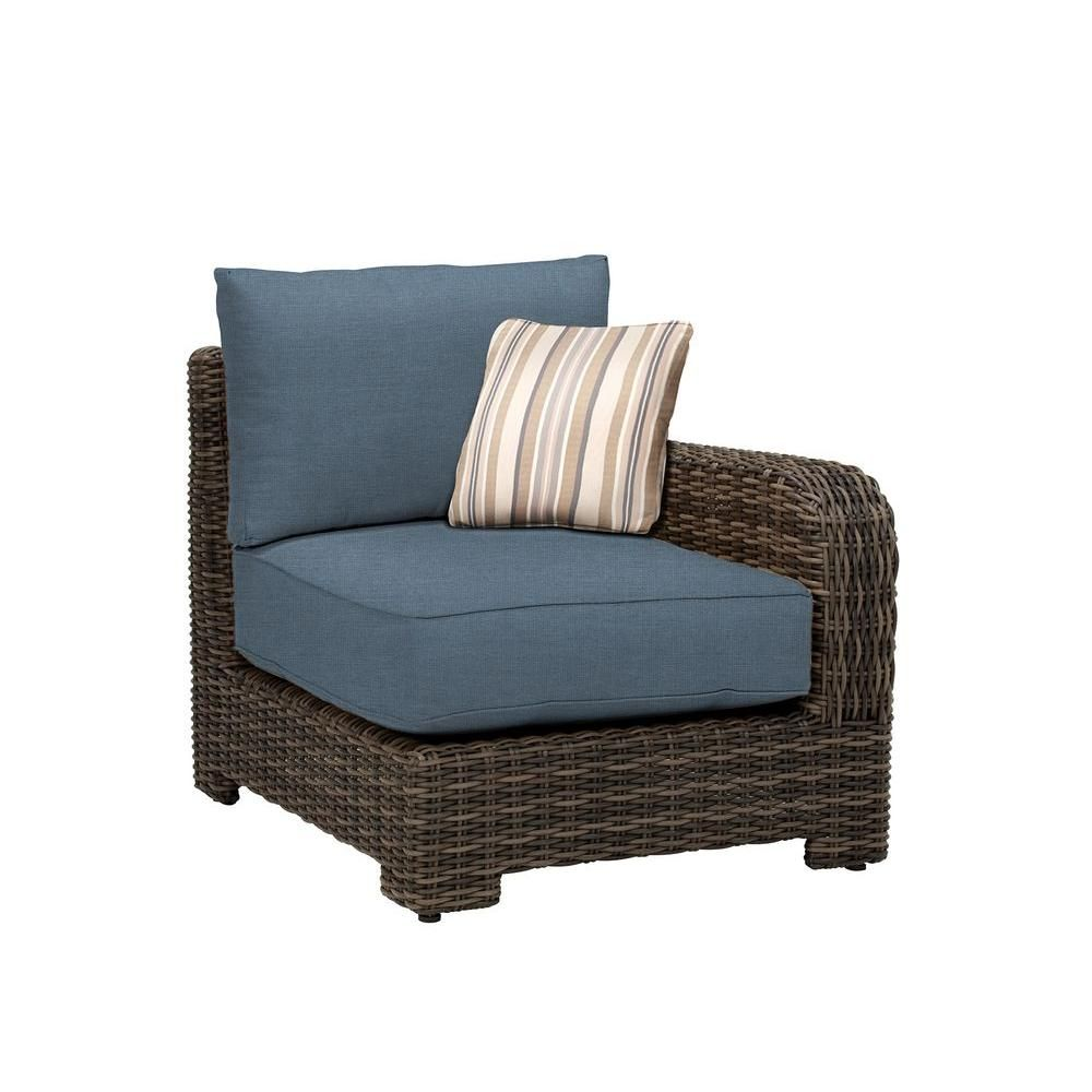 Brown Jordan Northshore Right Arm Patio Sectional Chair with Denim Cushion and Terrace Lane Throw Pillow -- Custom