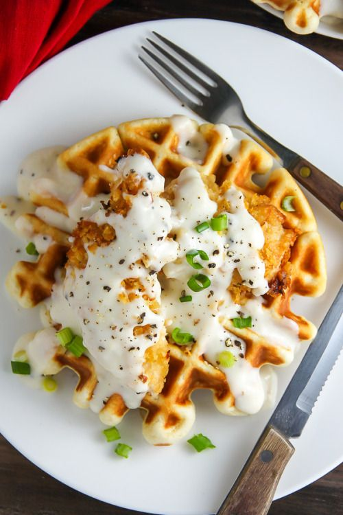 #craving-nomz:  Oven-Fried Chicken with Waffles and White Gravy